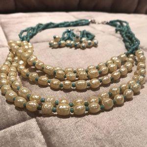Faux Pearl Necklace & Earrings Set
